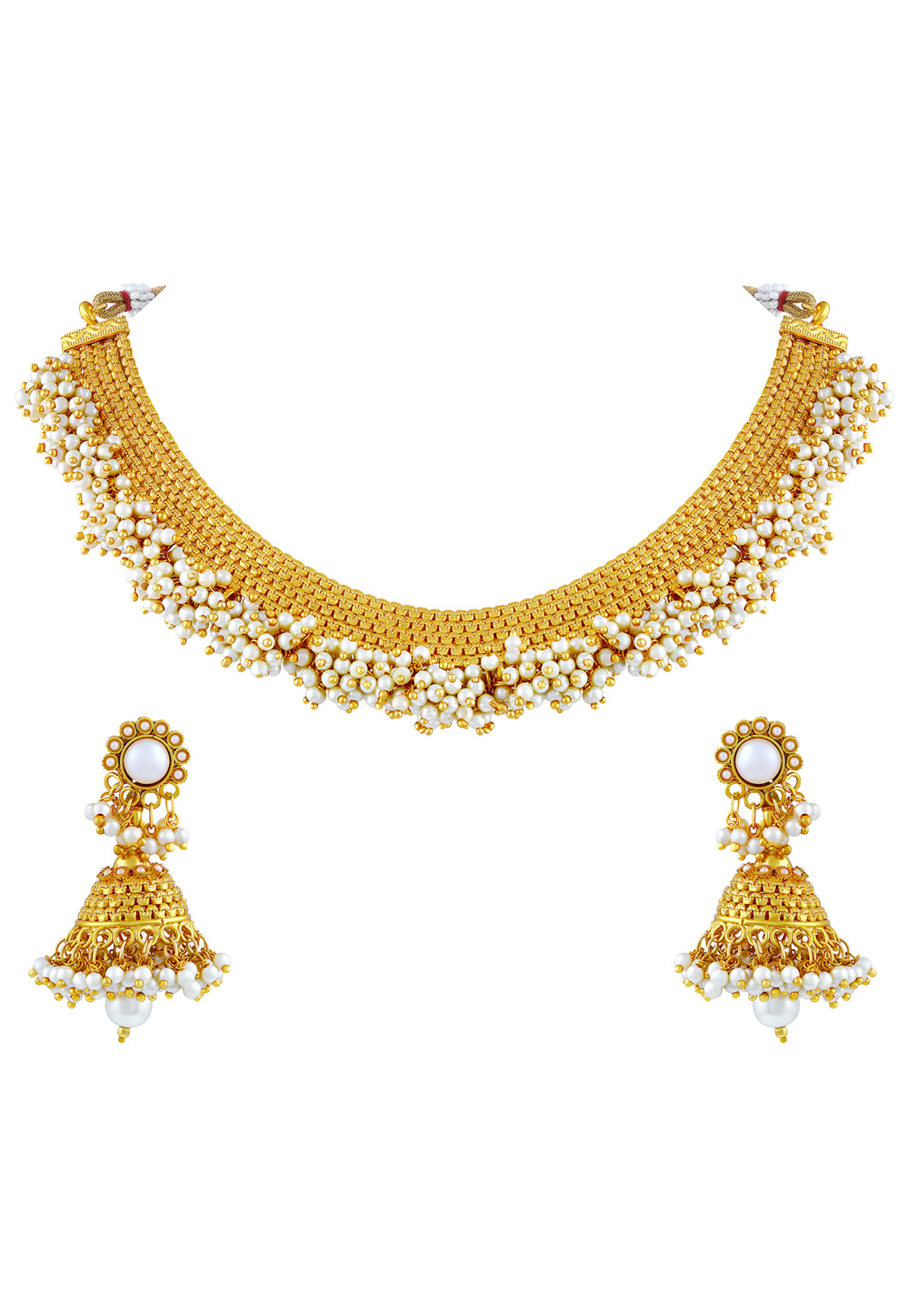 Golden Zinc Necklace Set With Earrings 191719