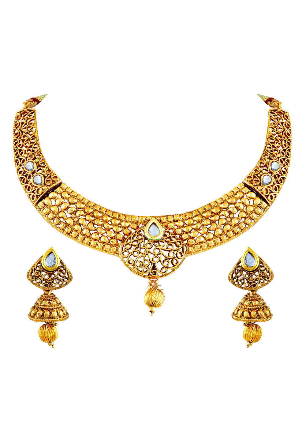 Golden Zinc Necklace Set With Earrings 191722