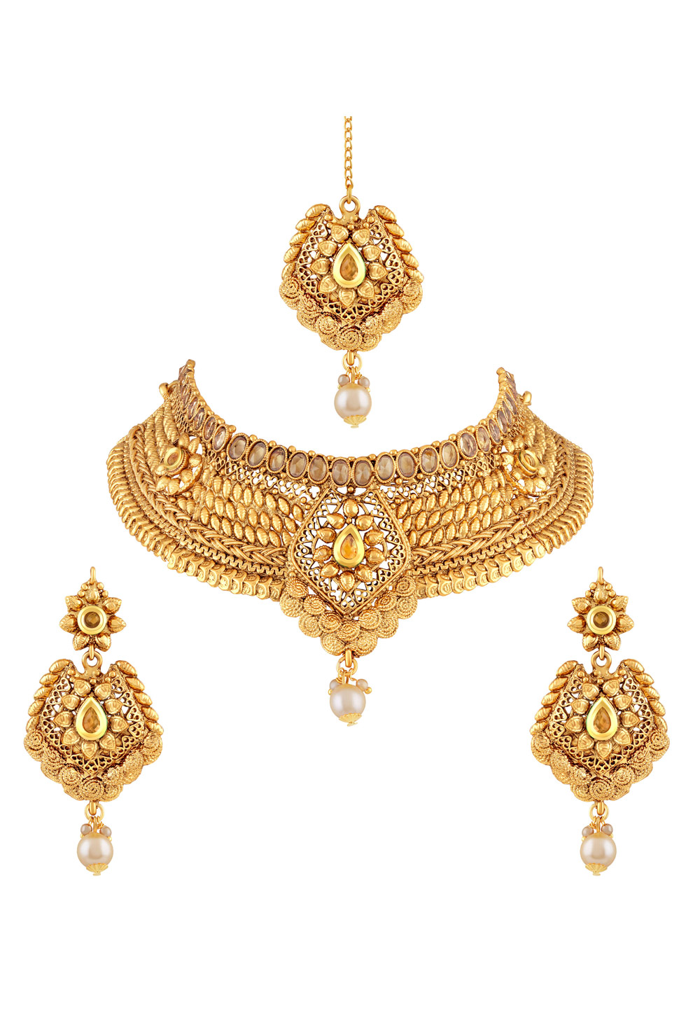 Golden Zinc Necklace Set With Earrings and Maang Tikka 191724