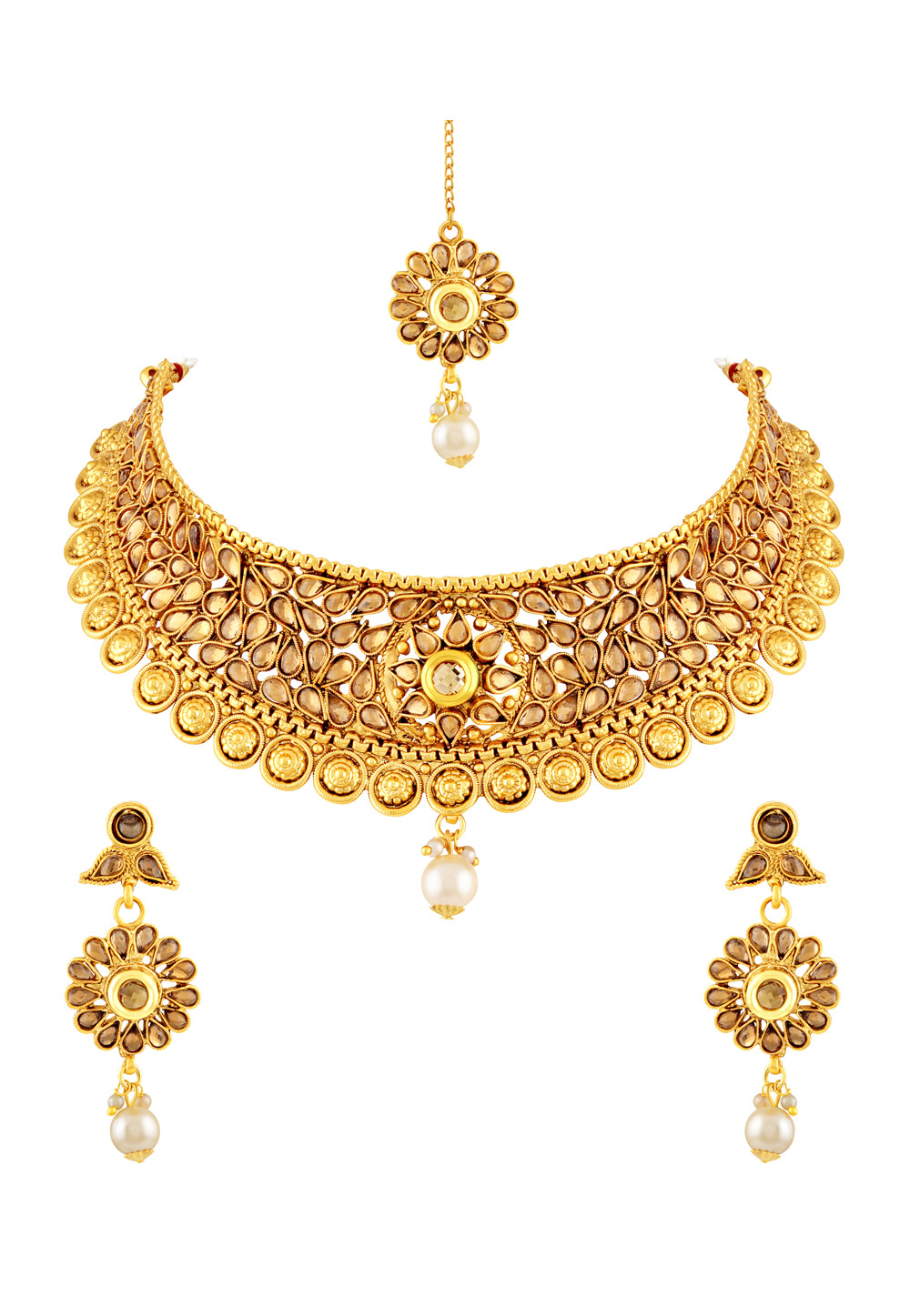 Golden Zinc Necklace Set With Earrings and Maang Tikka 191726