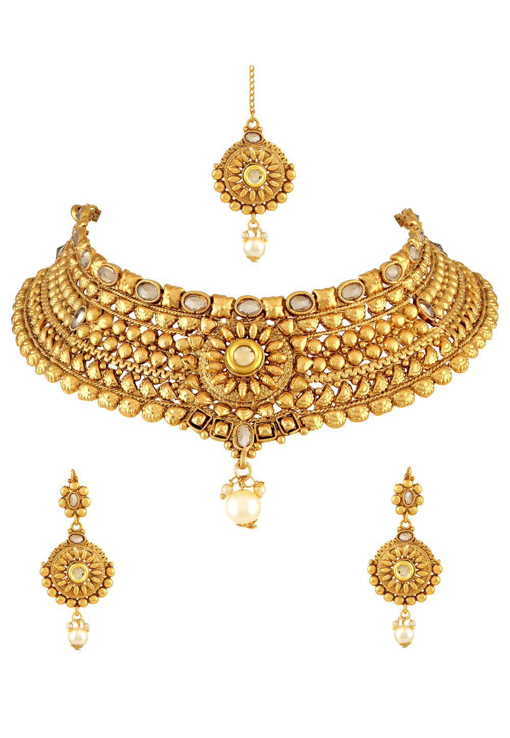 Golden Zinc Necklace Set With Earrings With Maang Tikka 191727