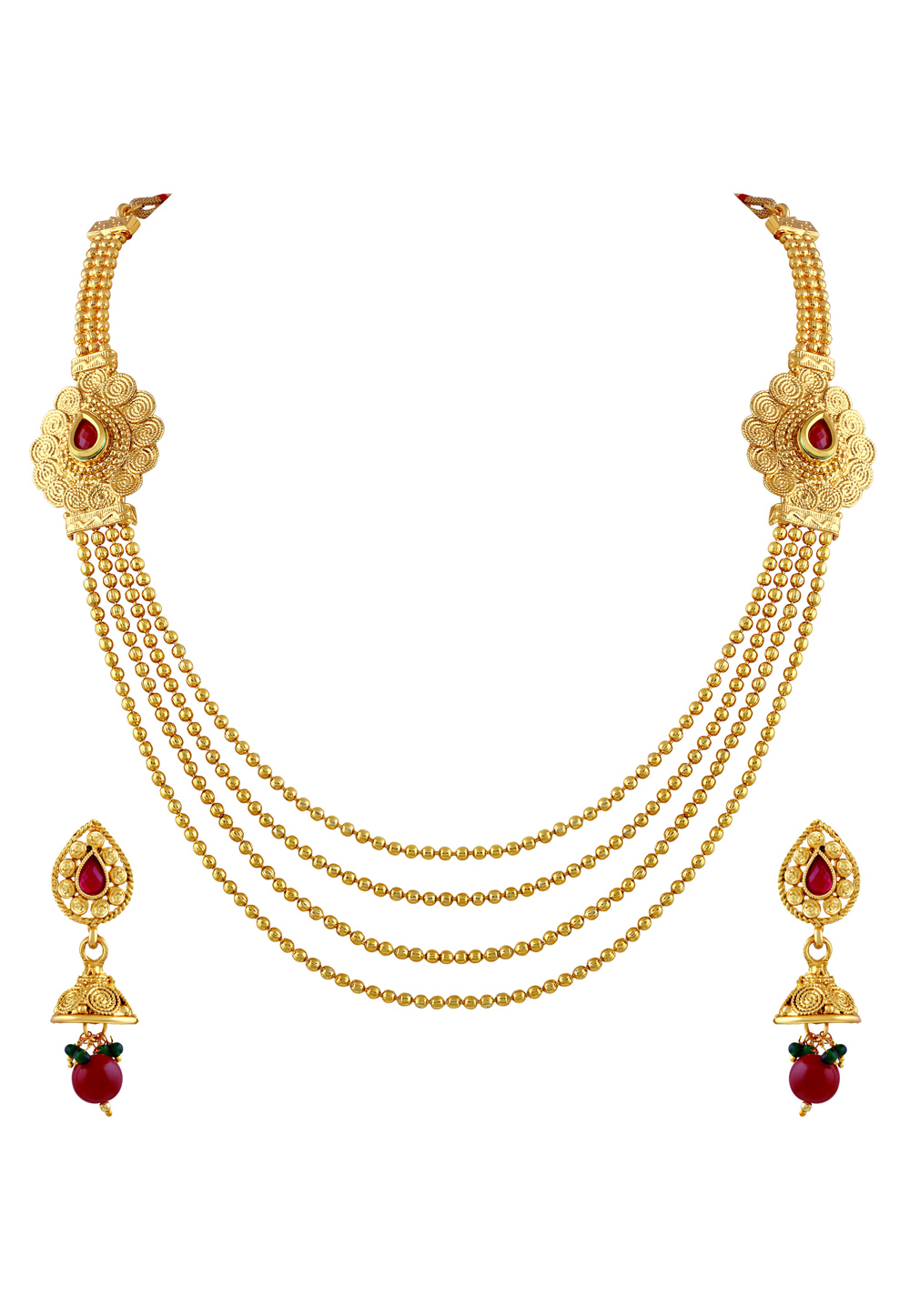 Maroon Zinc Necklace Set With Earrings 191736