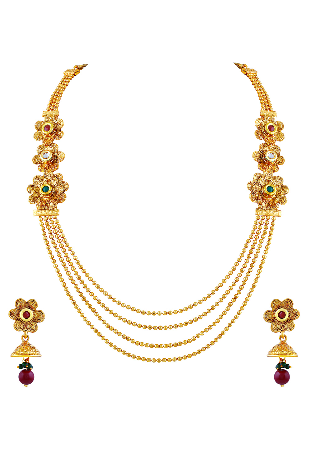 Maroon Zinc Necklace Set With Earrings 191738
