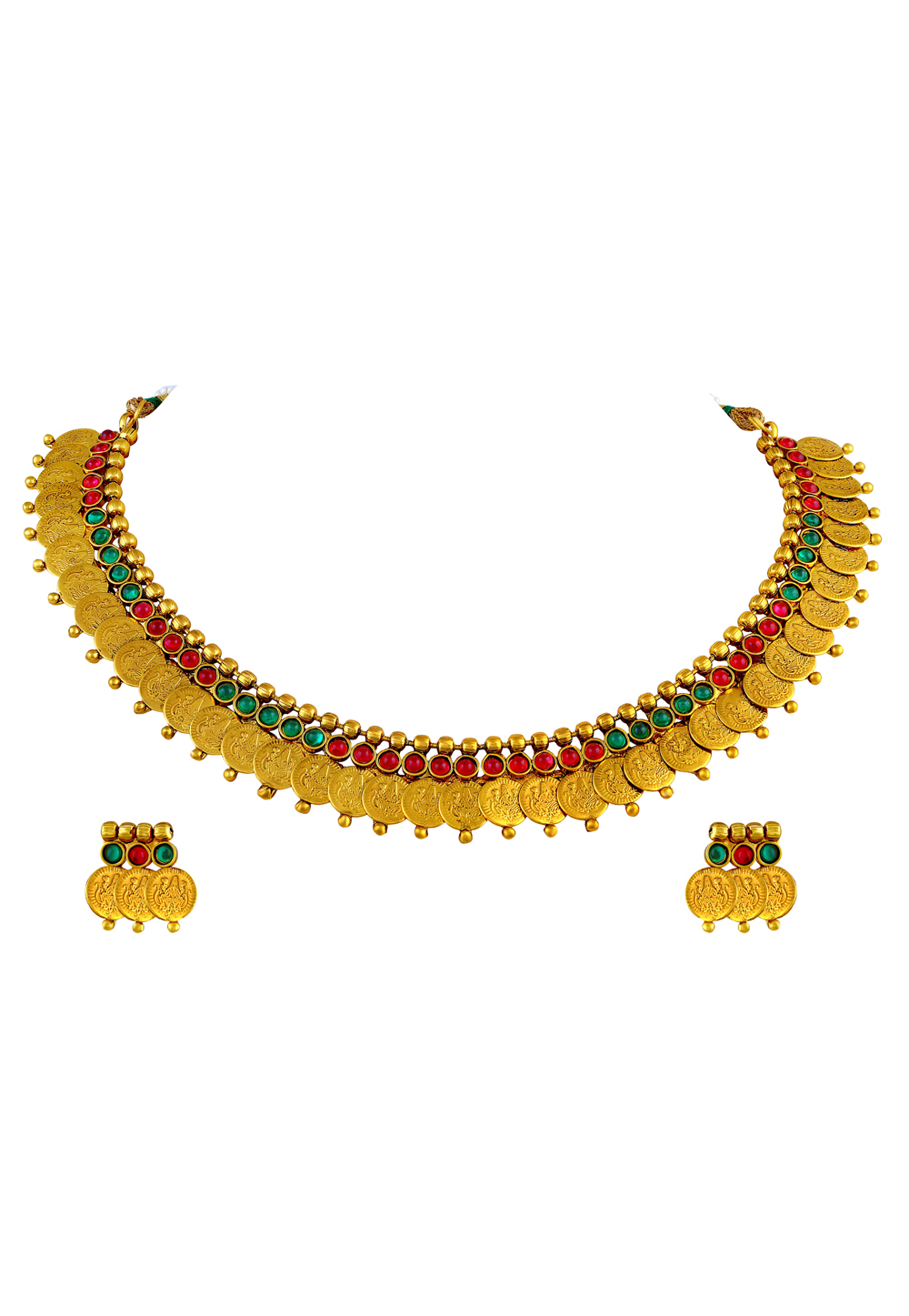 Golden Copper Necklace Set With Earrings 191744