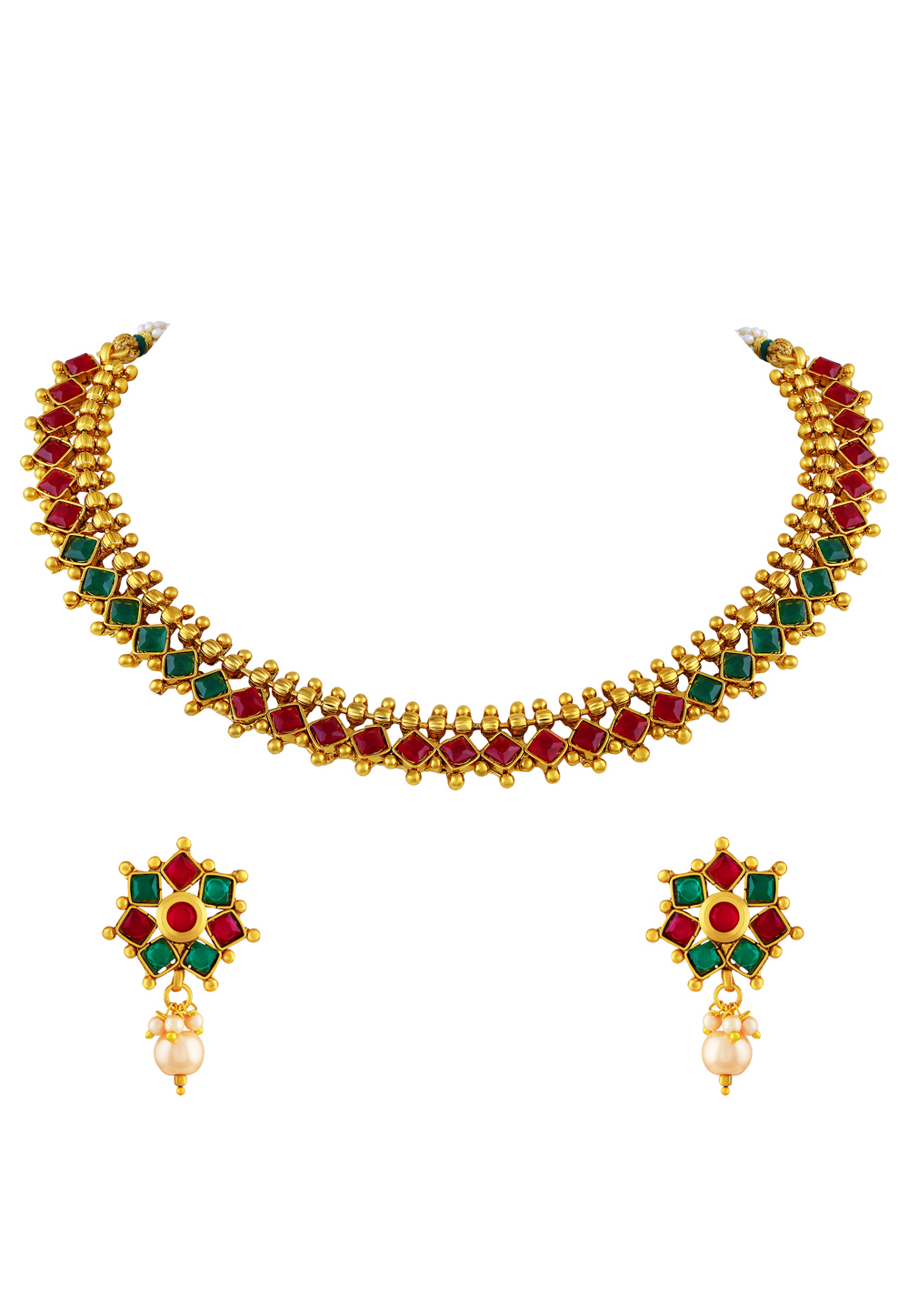 Golden Copper Necklace Set With Earrings 191745