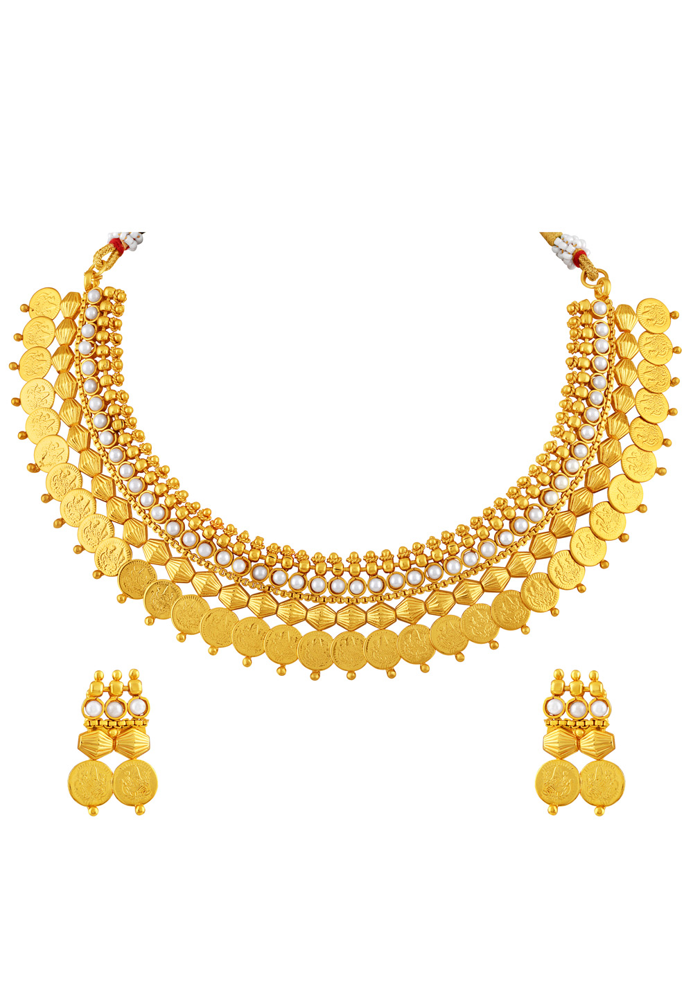 Golden Copper Necklace Set With Earrings 191747