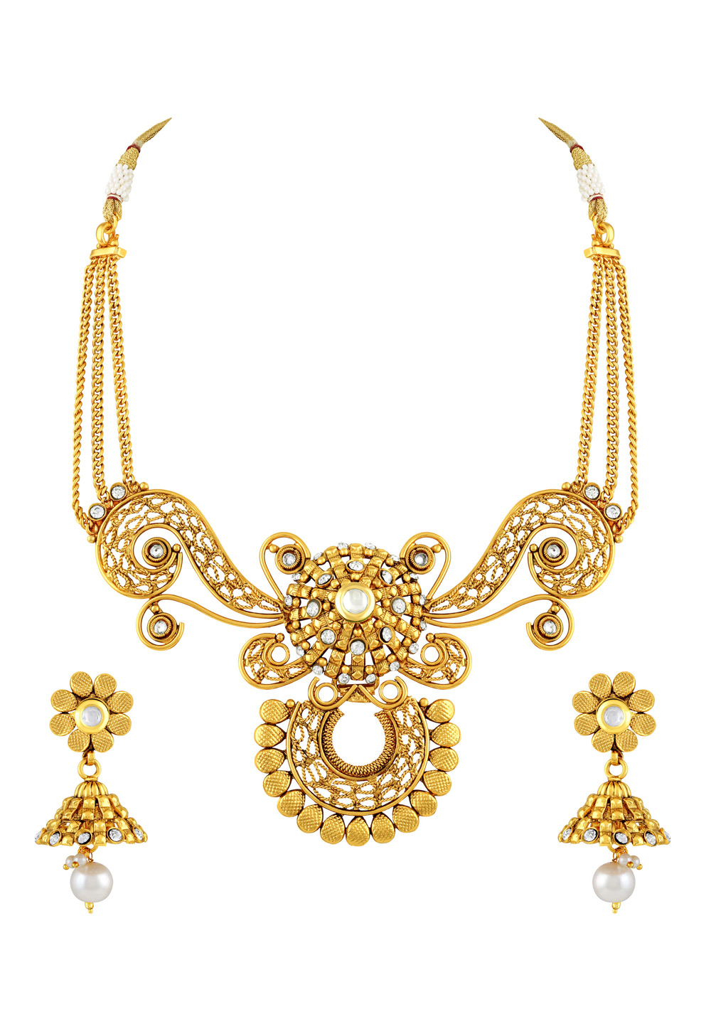 Golden Copper Necklace Set With Earrings 191748