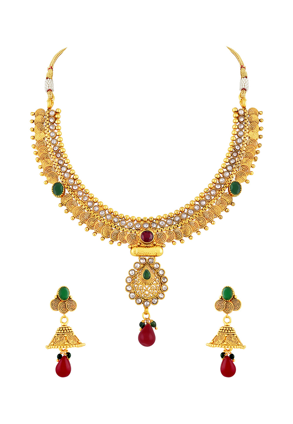 Golden Copper Necklace Set With Earrings 191749