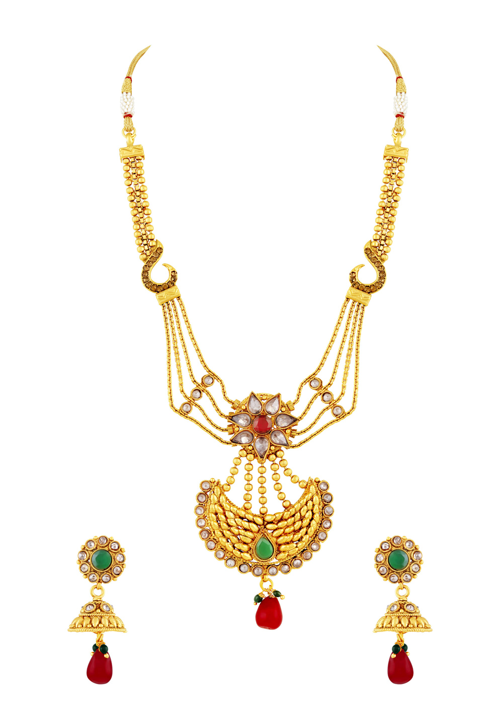 Golden Copper Necklace Set With Earrings 191751