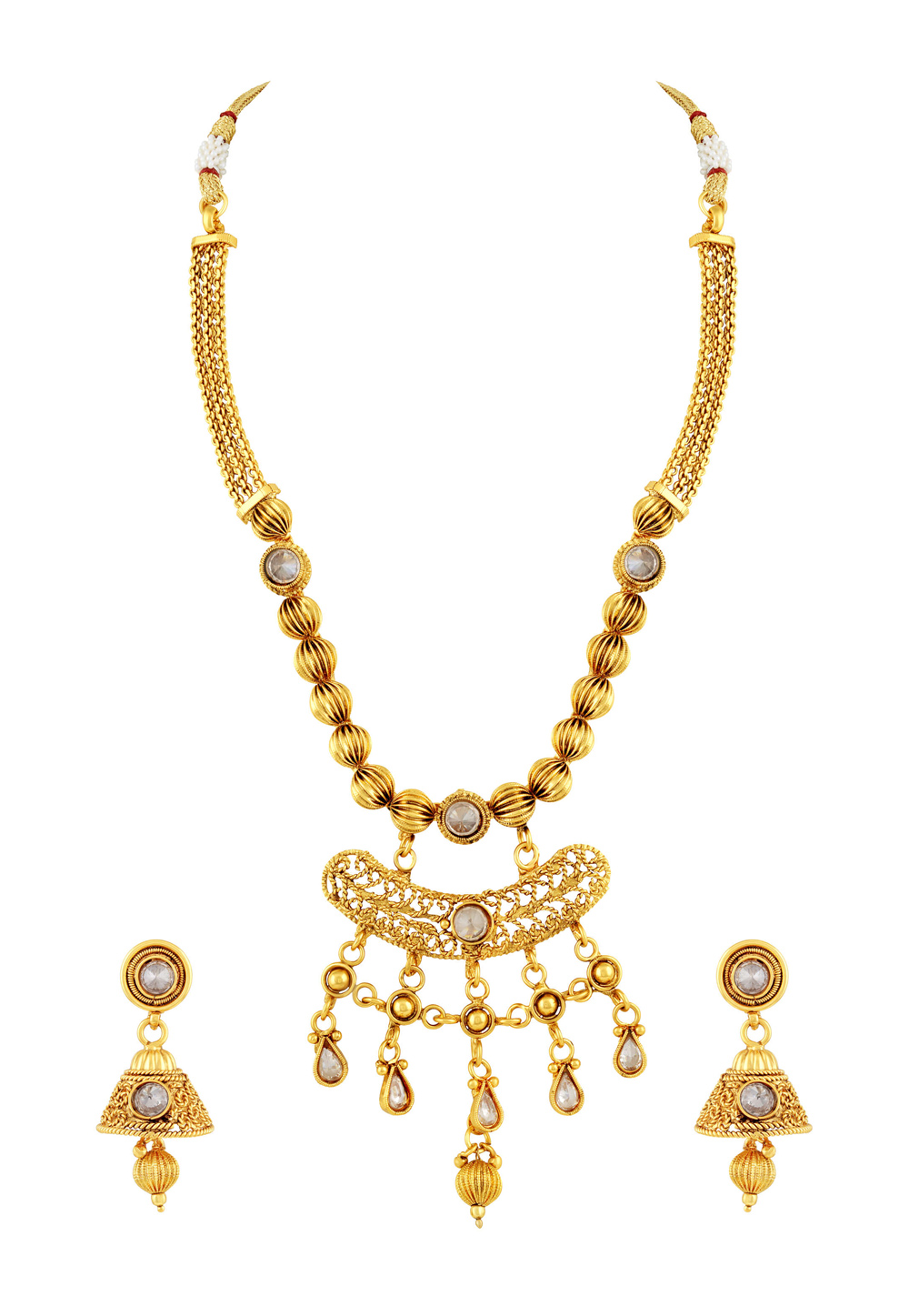 Golden Copper Necklace Set With Earrings 191753