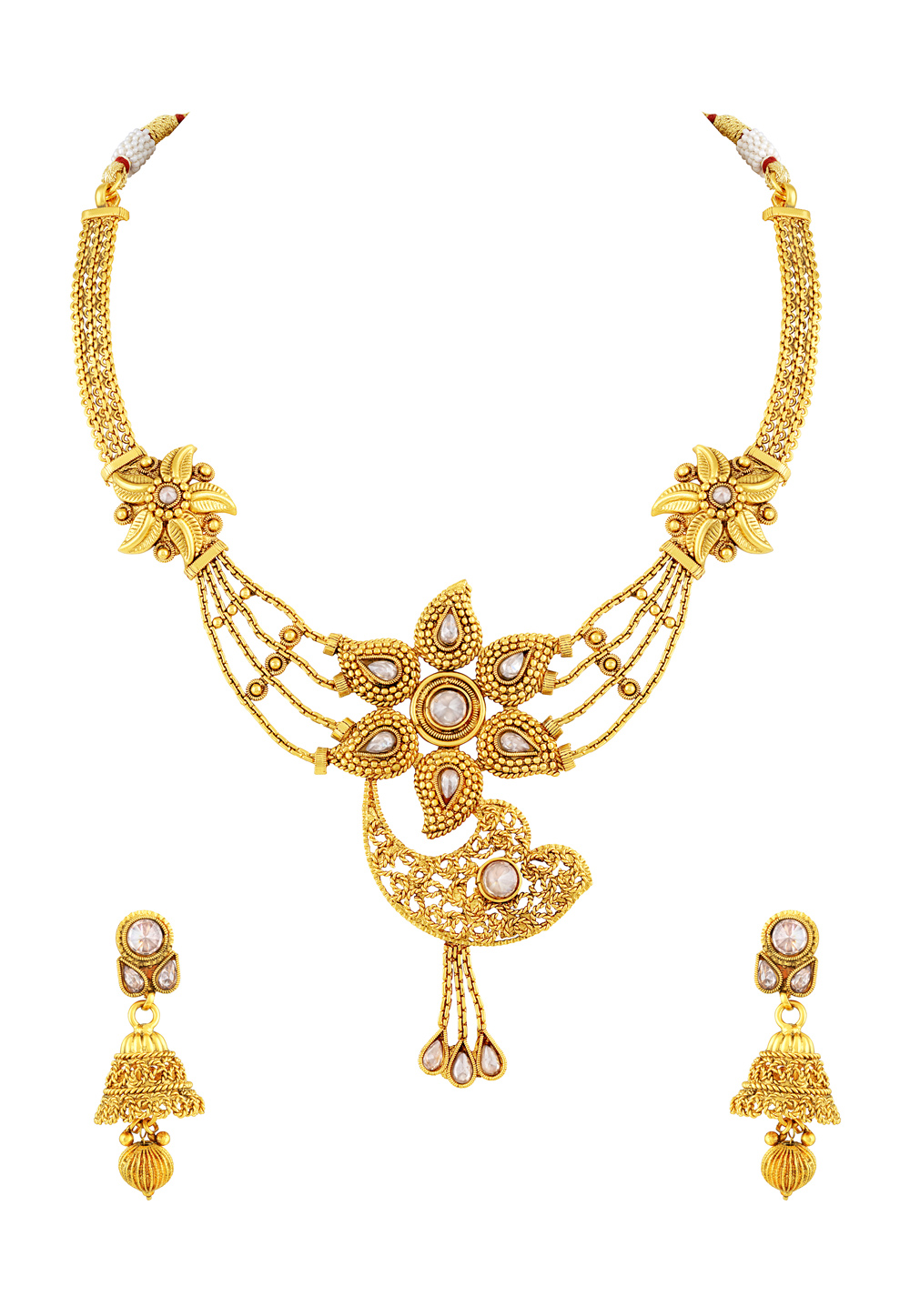 Golden Copper Necklace Set With Earrings 191754