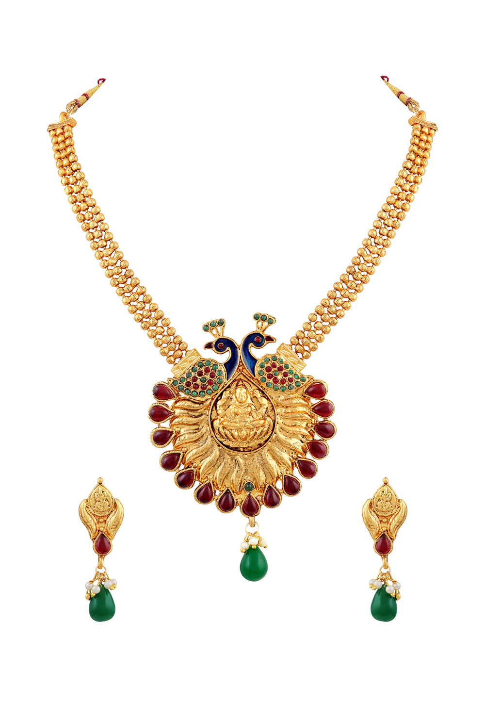 Green Zinc Necklace Set With Earrings 191756