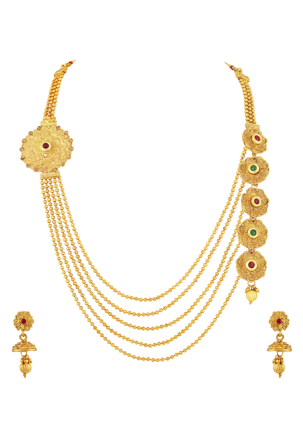 Golden Zinc Necklace Set With Earrings 191772