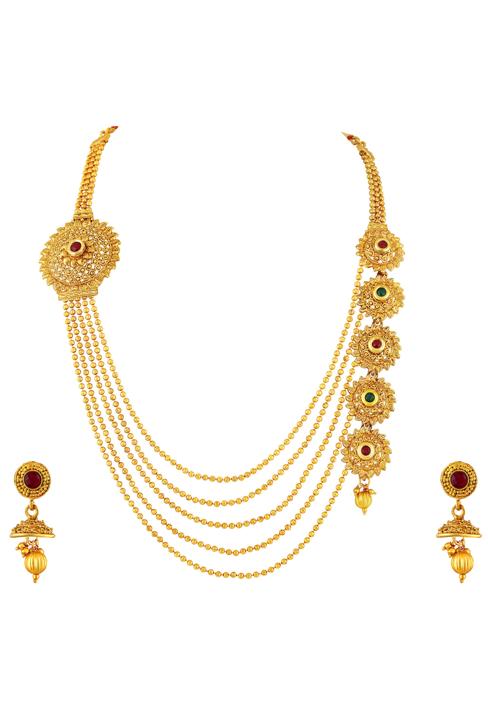 Golden Zinc Necklace Set With Earrings 191773