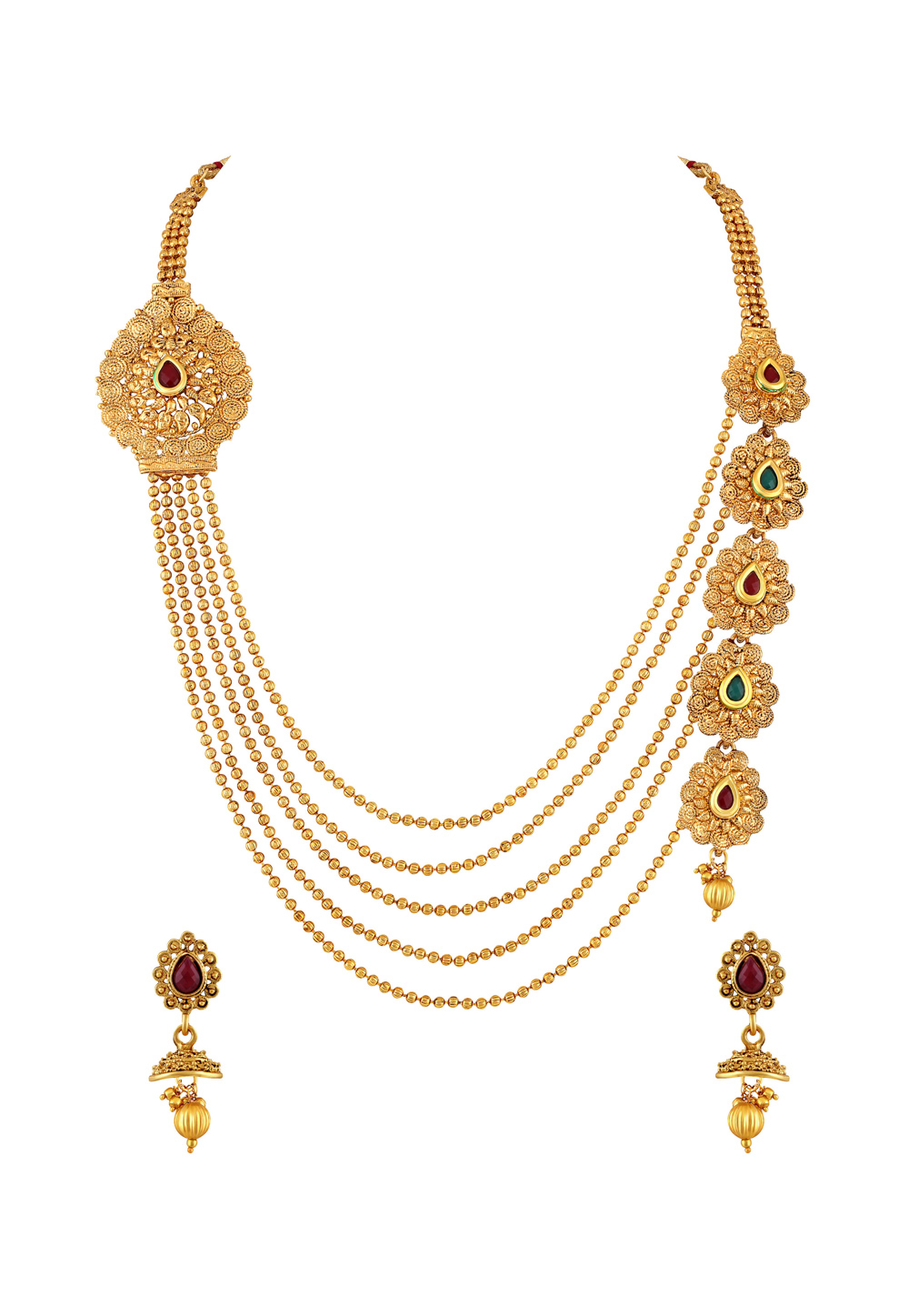 Golden Zinc Necklace Set With Earrings 191775