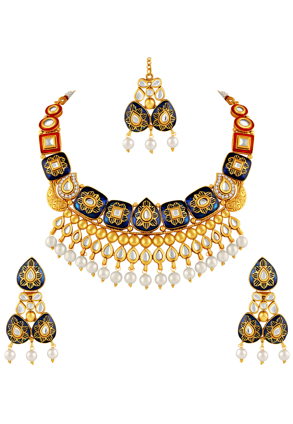 Blue Zinc Necklace Set With Earrings and Maang Tikka 191777