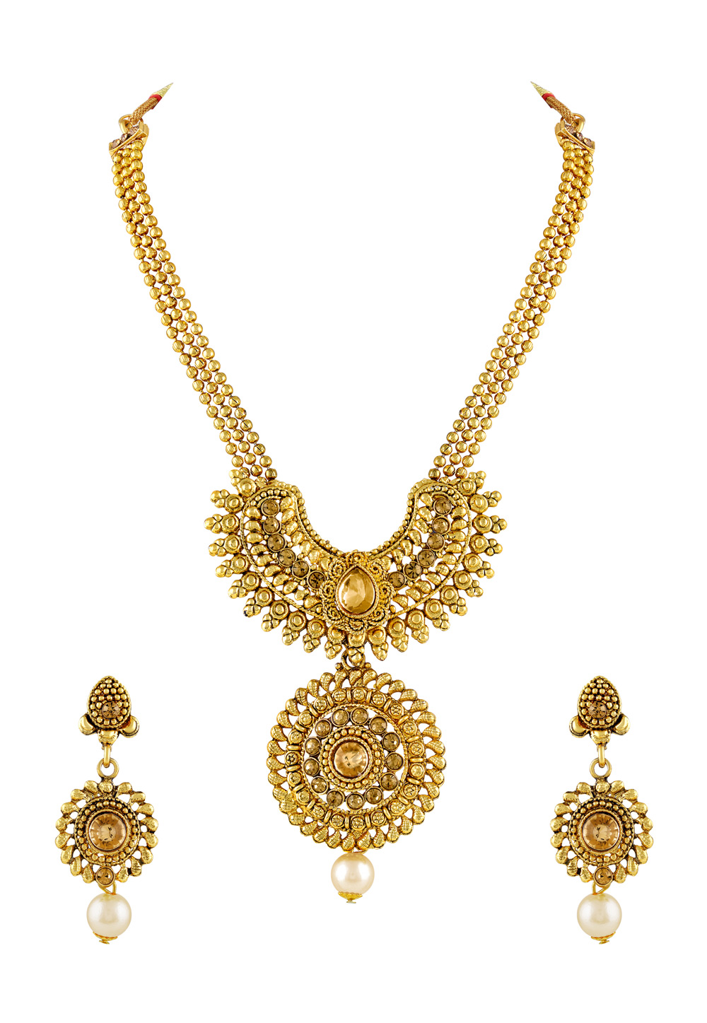 Golden Zinc Necklace Set With Earrings 191780