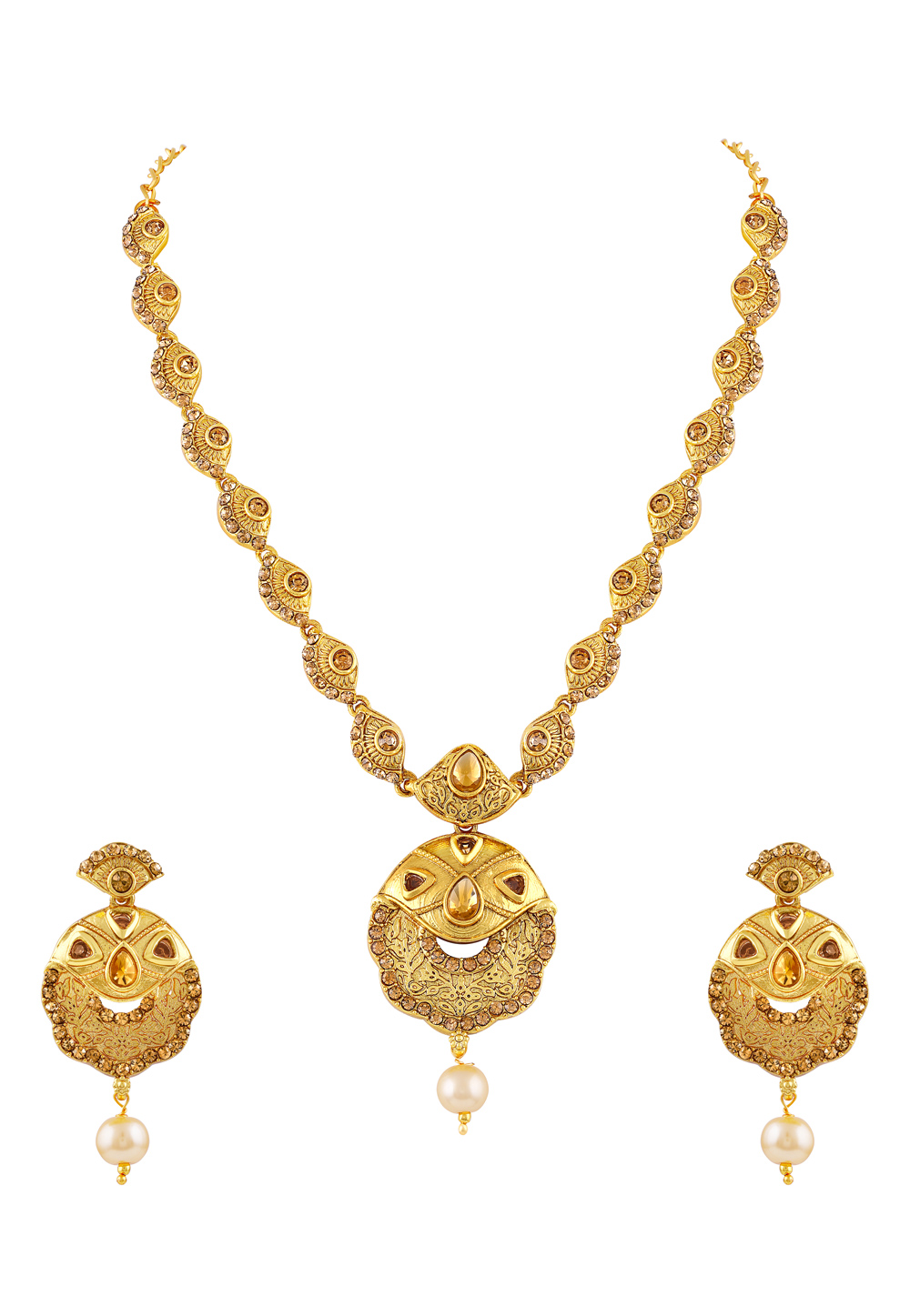 Golden Zinc Necklace Set With Earrings 191781