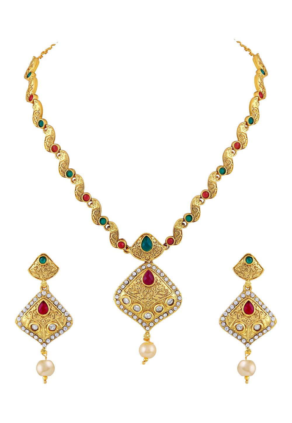 Green Zinc Necklace Set With Earrings 191782