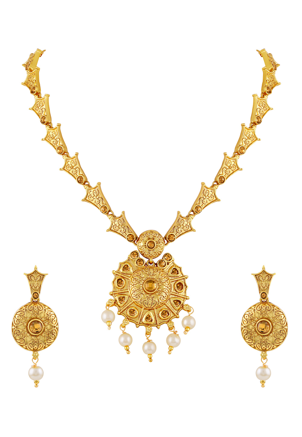 Golden Zinc Necklace Set With Earrings 191783