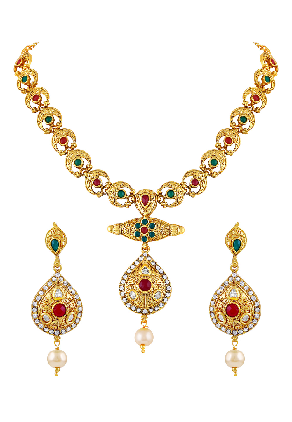 Maroon Zinc Necklace Set With Earrings 191786