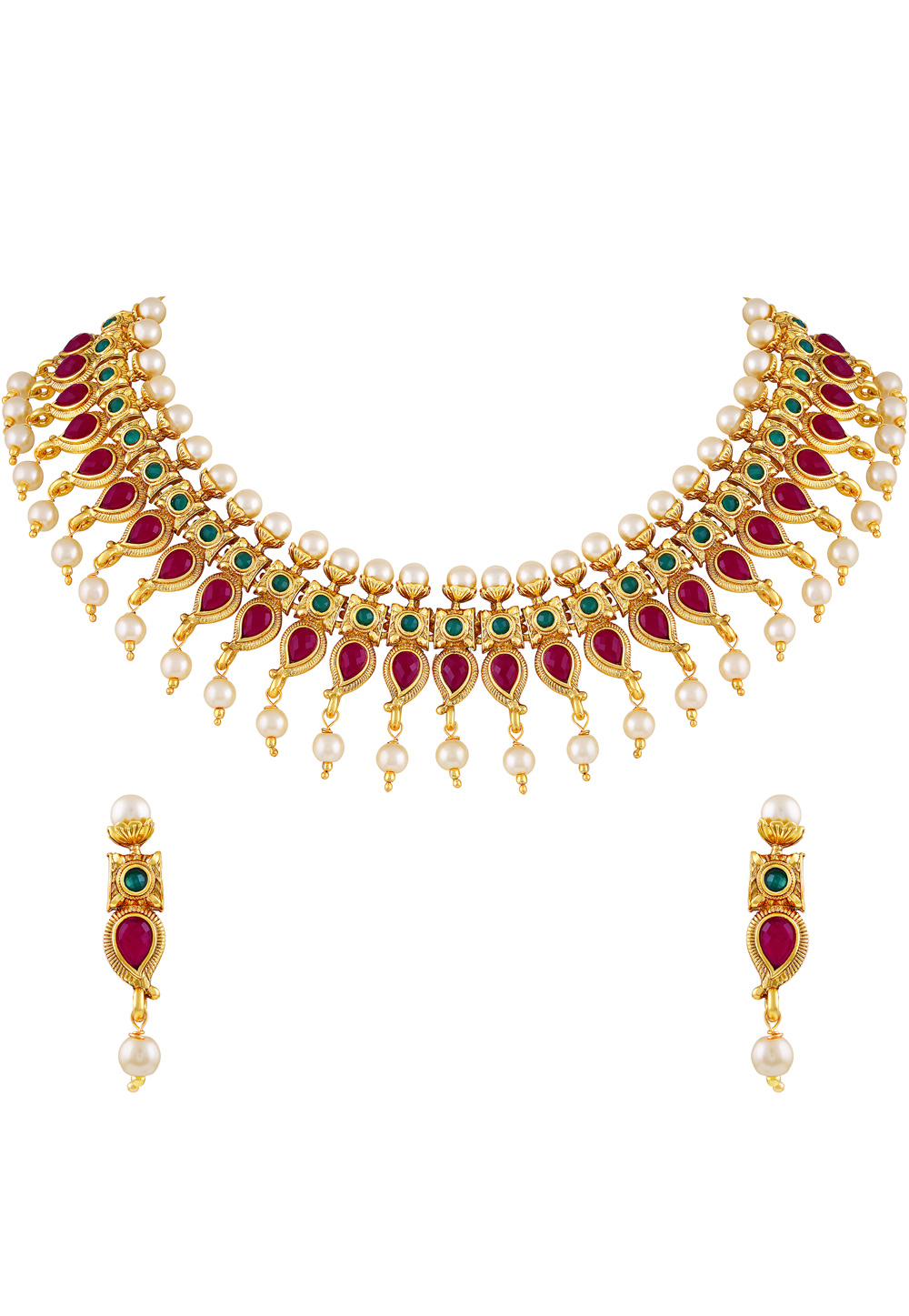 Pink Zinc Necklace Set With Earrings 191787