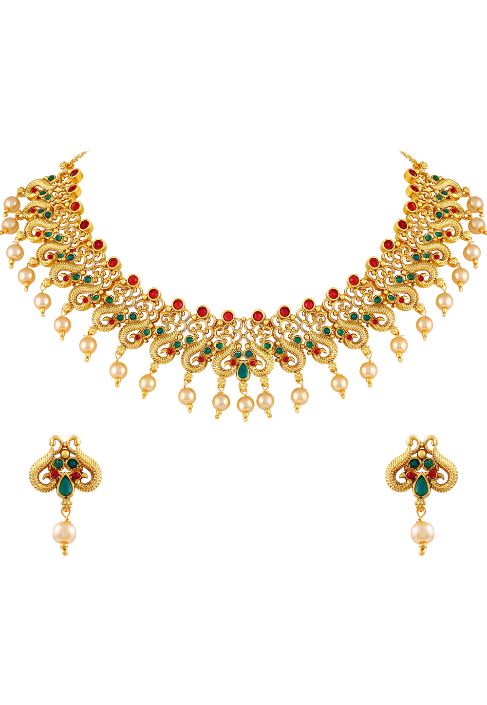 Red Zinc Necklace Set With Earrings 191788
