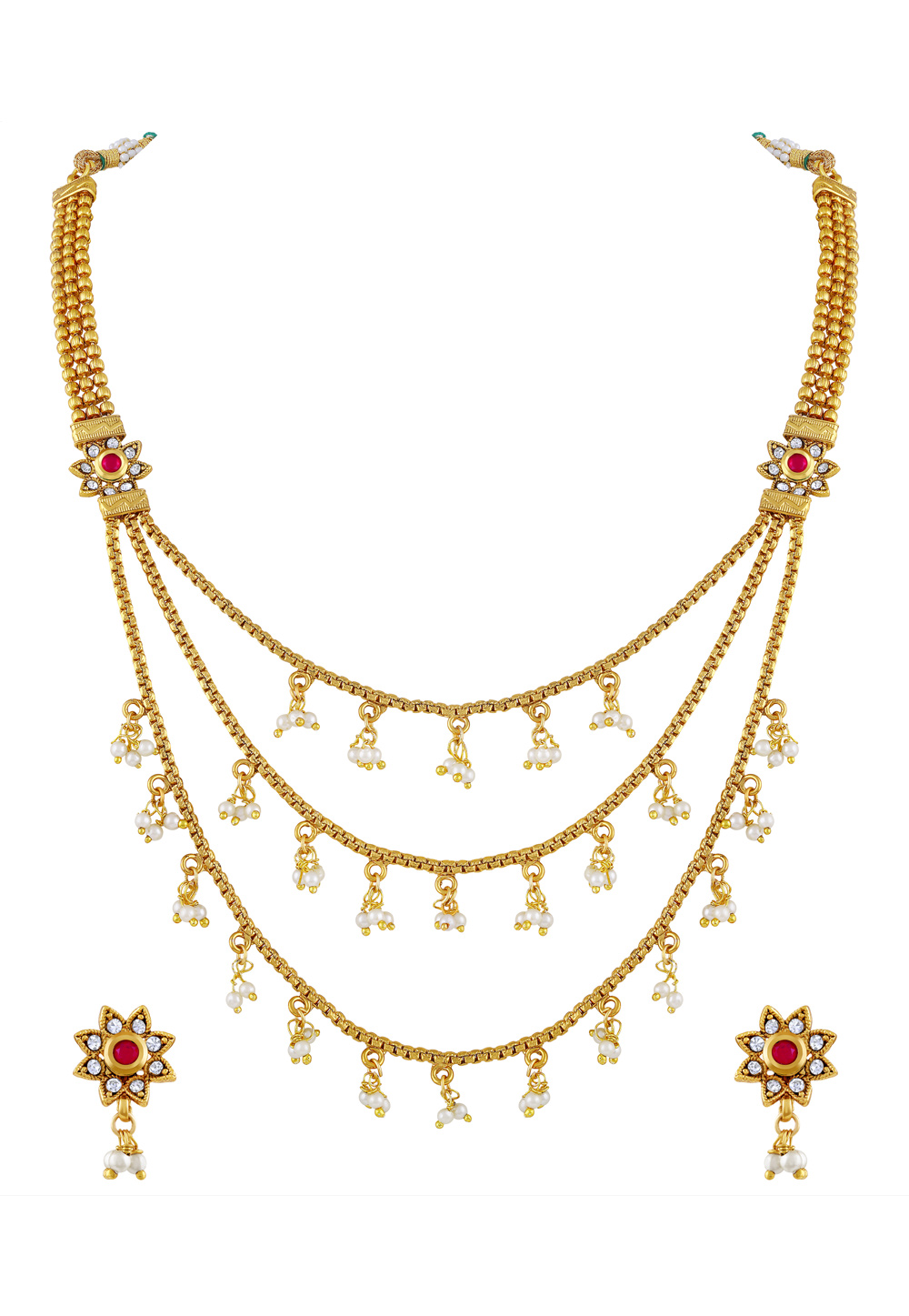 Golden Copper Necklace Set With Earrings 191790