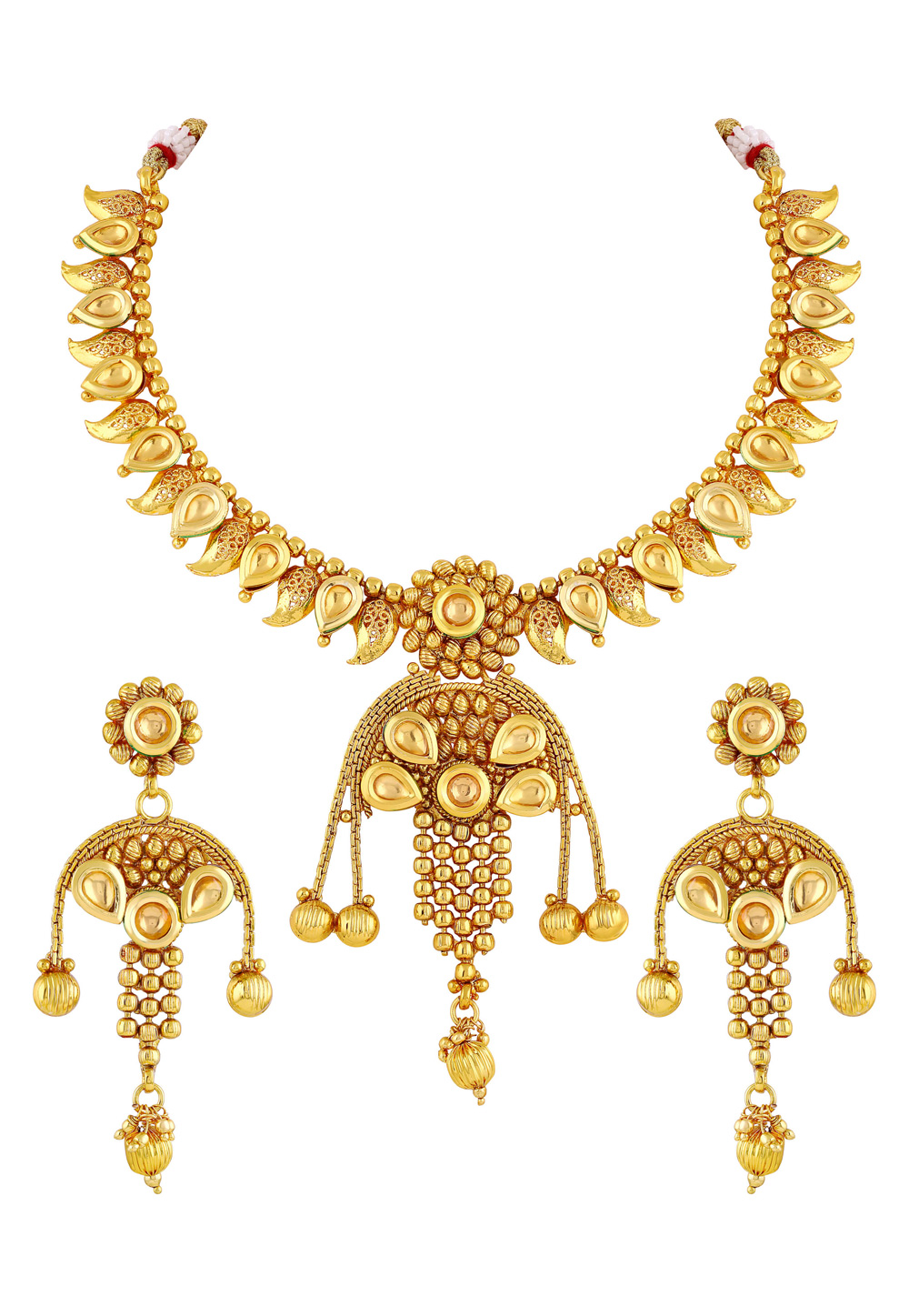 Golden Copper Necklace Set With Earrings 191793