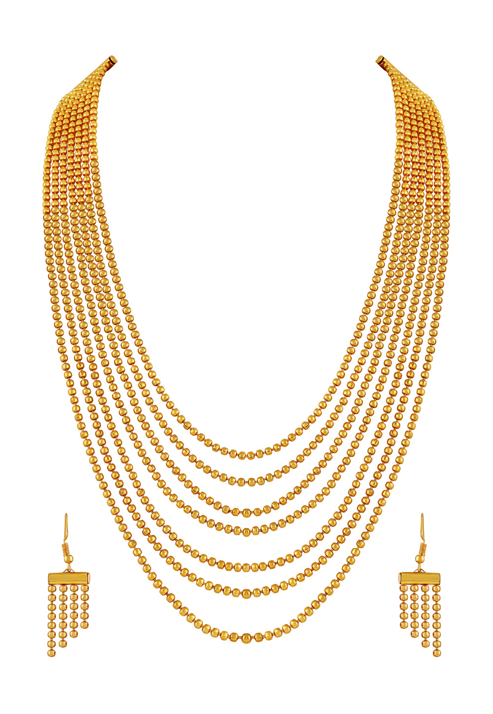 Golden Brass Necklace Set With Earrings 191794