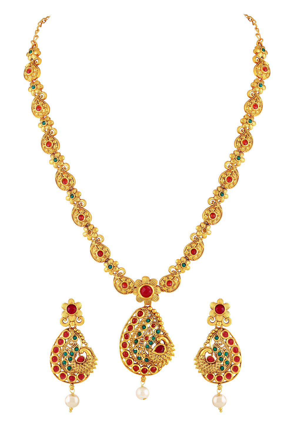 Red Zinc Necklace Set With Earrings 191796