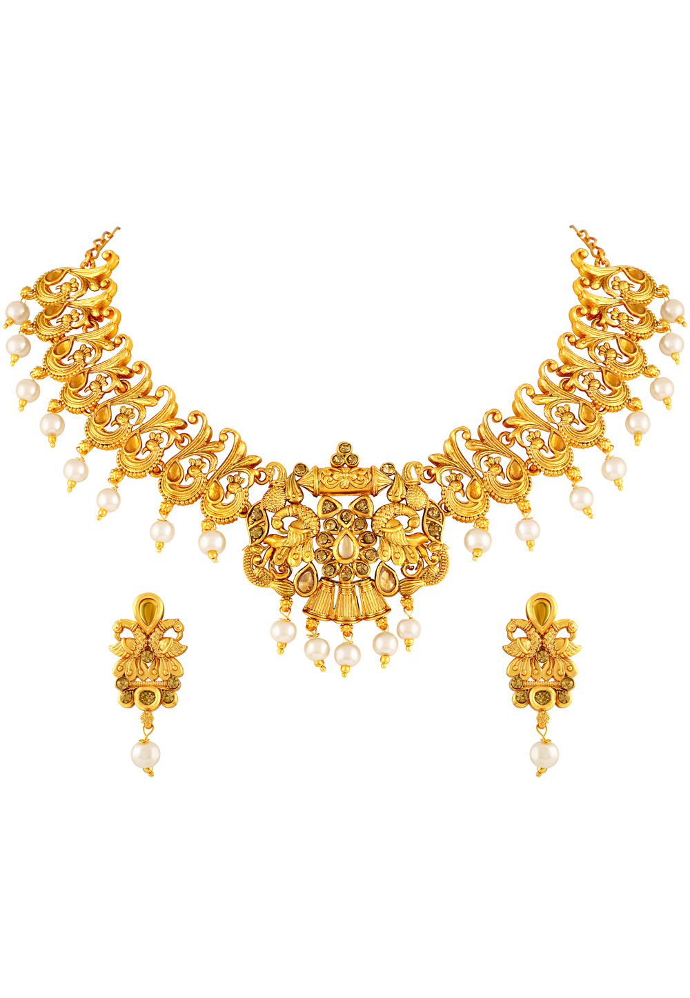 Golden Zinc Necklace Set With Earrings 191797