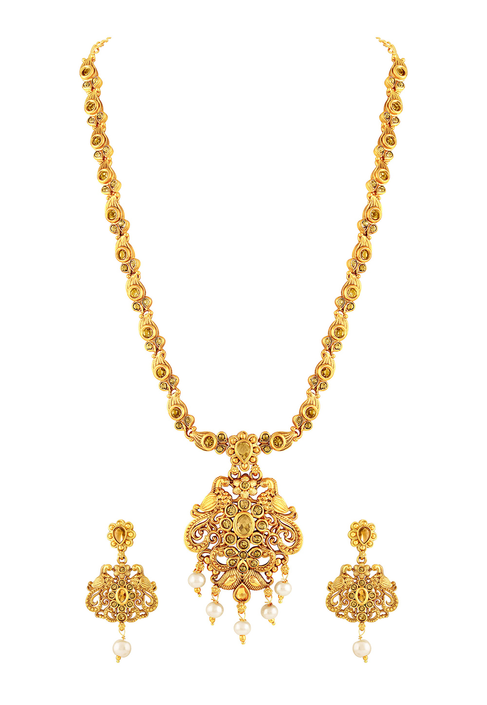 Golden Zinc Necklace Set With Earrings 191800