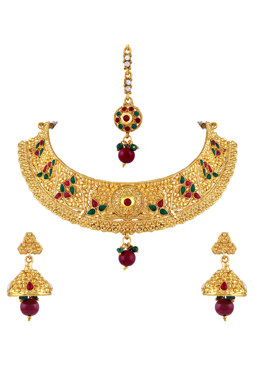 Maroon Zinc Necklace Set With Earrings and Maang Tikka 191803