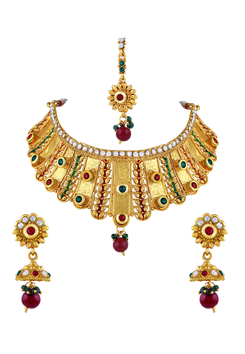Maroon Zinc Necklace Set With Earrings and Maang Tikka 191806