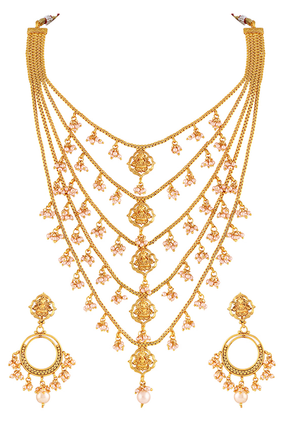 Golden Brass Necklace Set With Earrings 191812