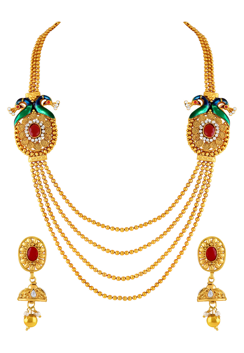Golden Zinc Necklace Set With Earrings 191819