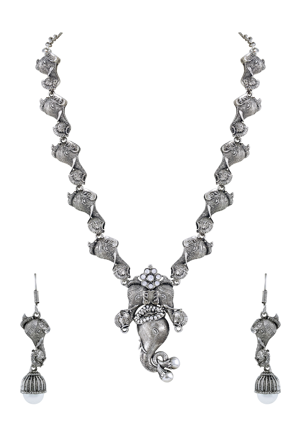 Silver Zinc Necklace Set With Earrings 191821