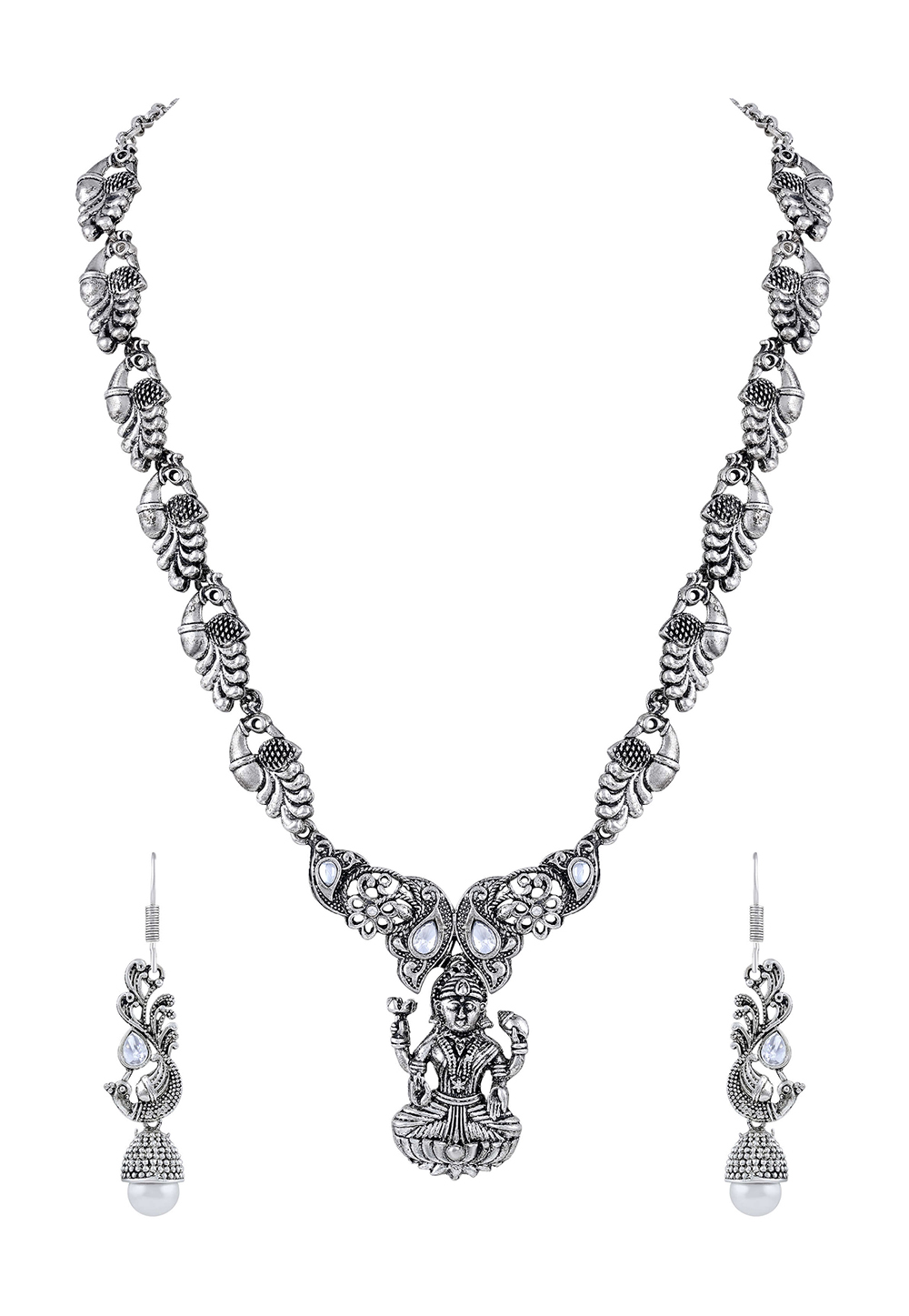 Silver Zinc Necklace Set With Earrings 191822