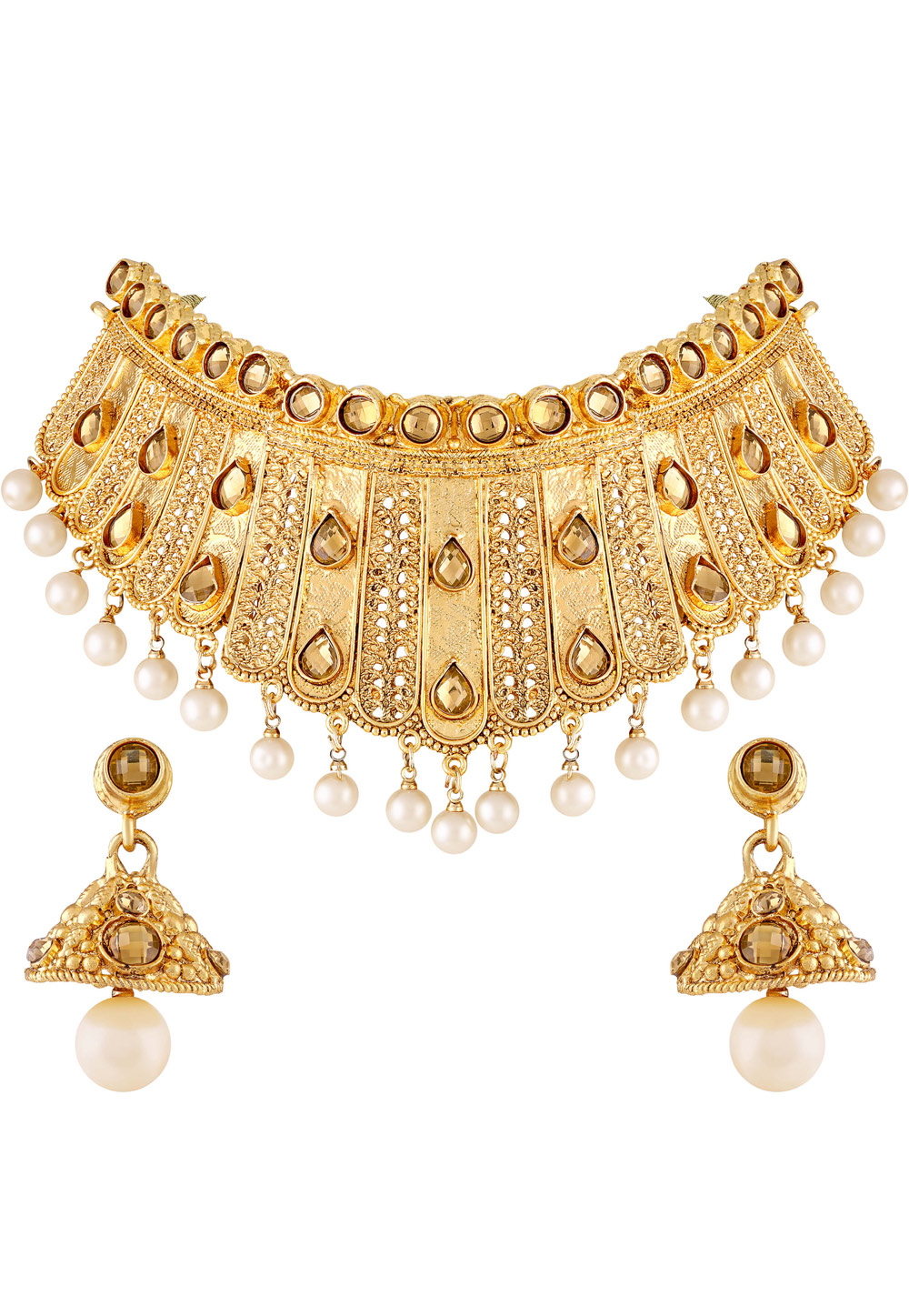 Golden Zinc Necklace Set With Earrings 191823