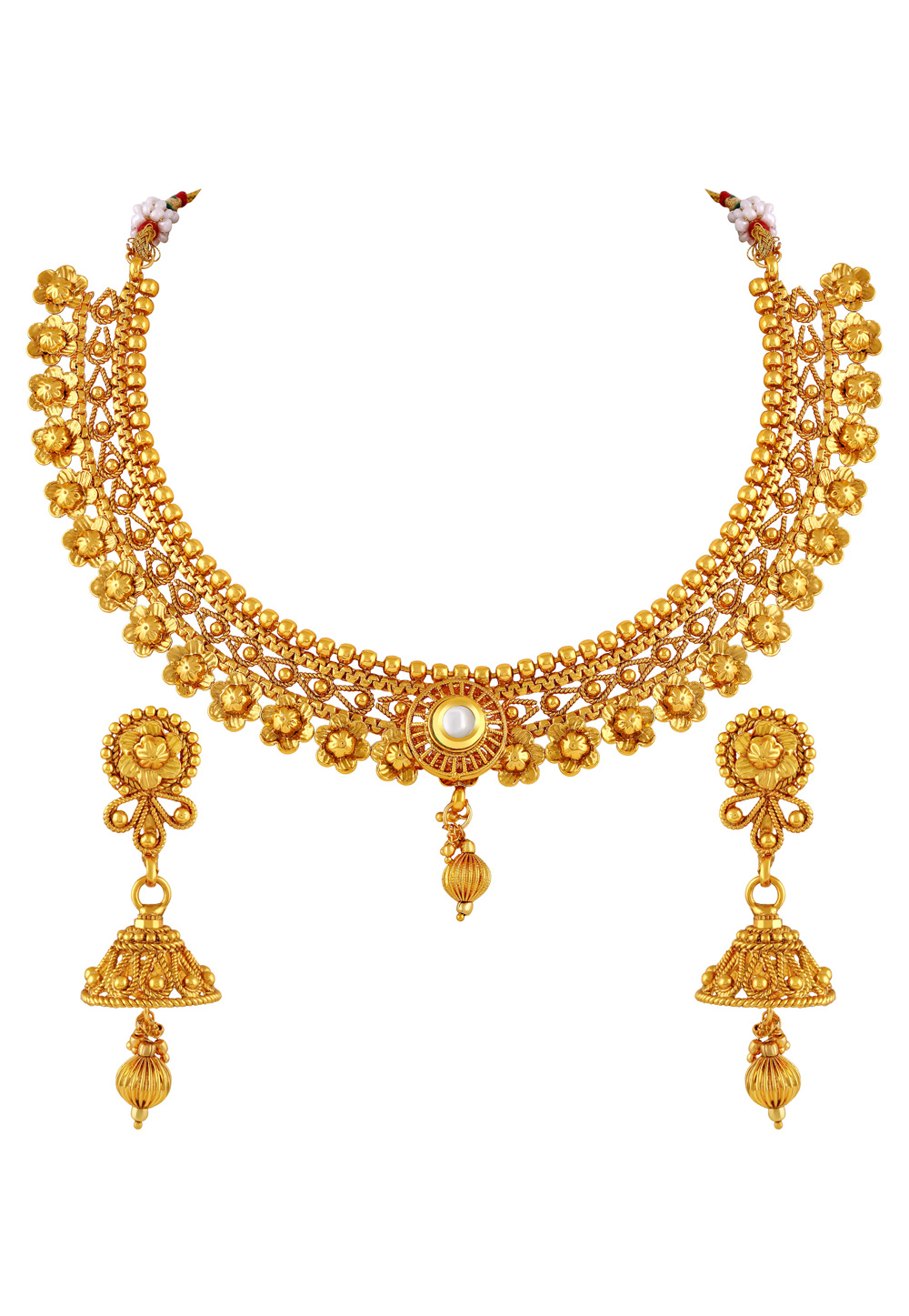Golden Copper Necklace Set With Earrings 191829