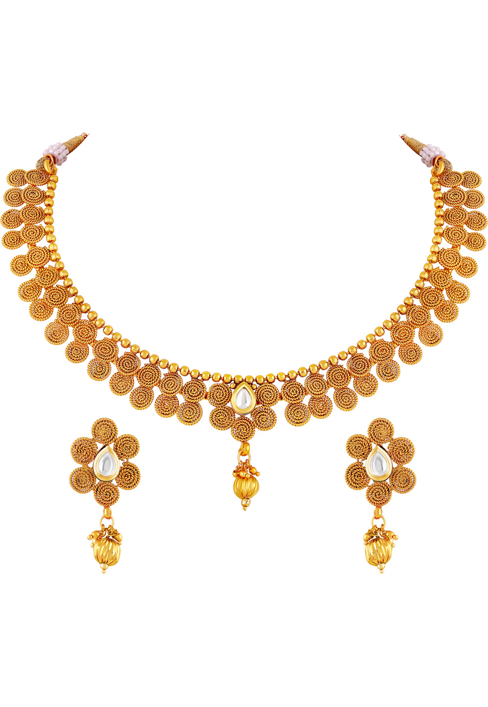 Golden Copper Necklace Set With Earrings 191831