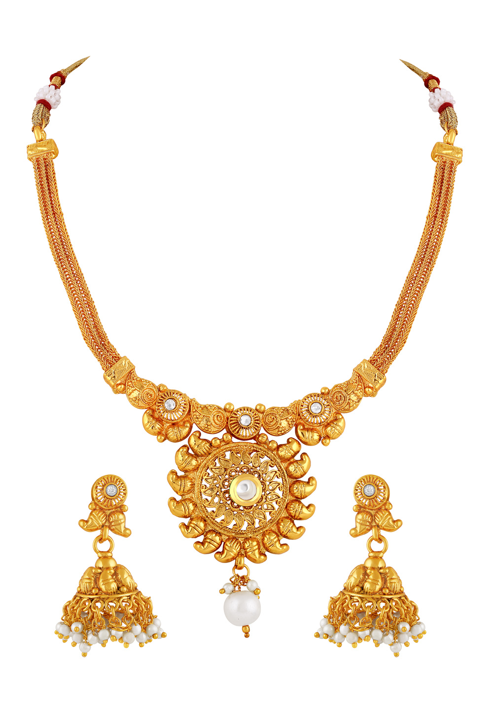 Golden Copper Necklace Set With Earrings 191832