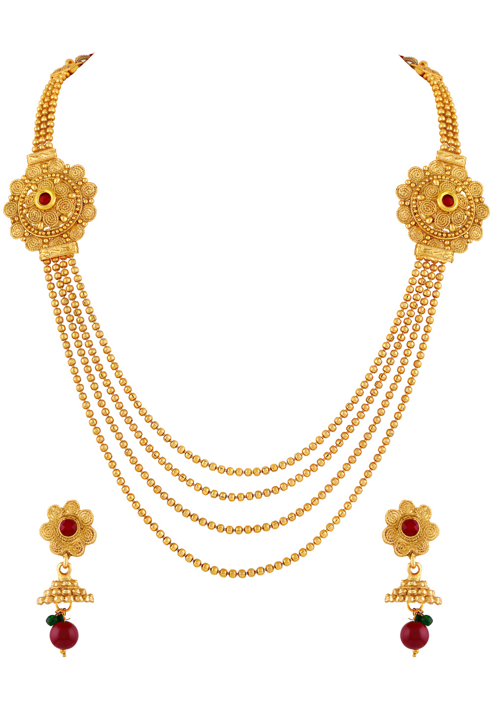 Golden Brass Necklace Set With Earrings 191837
