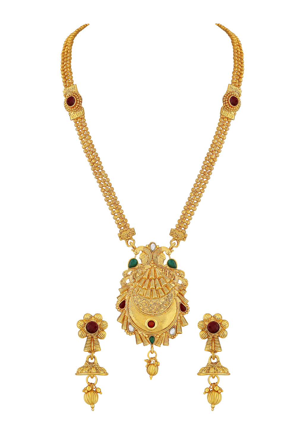 Golden Zinc Necklace Set With Earrings 191839