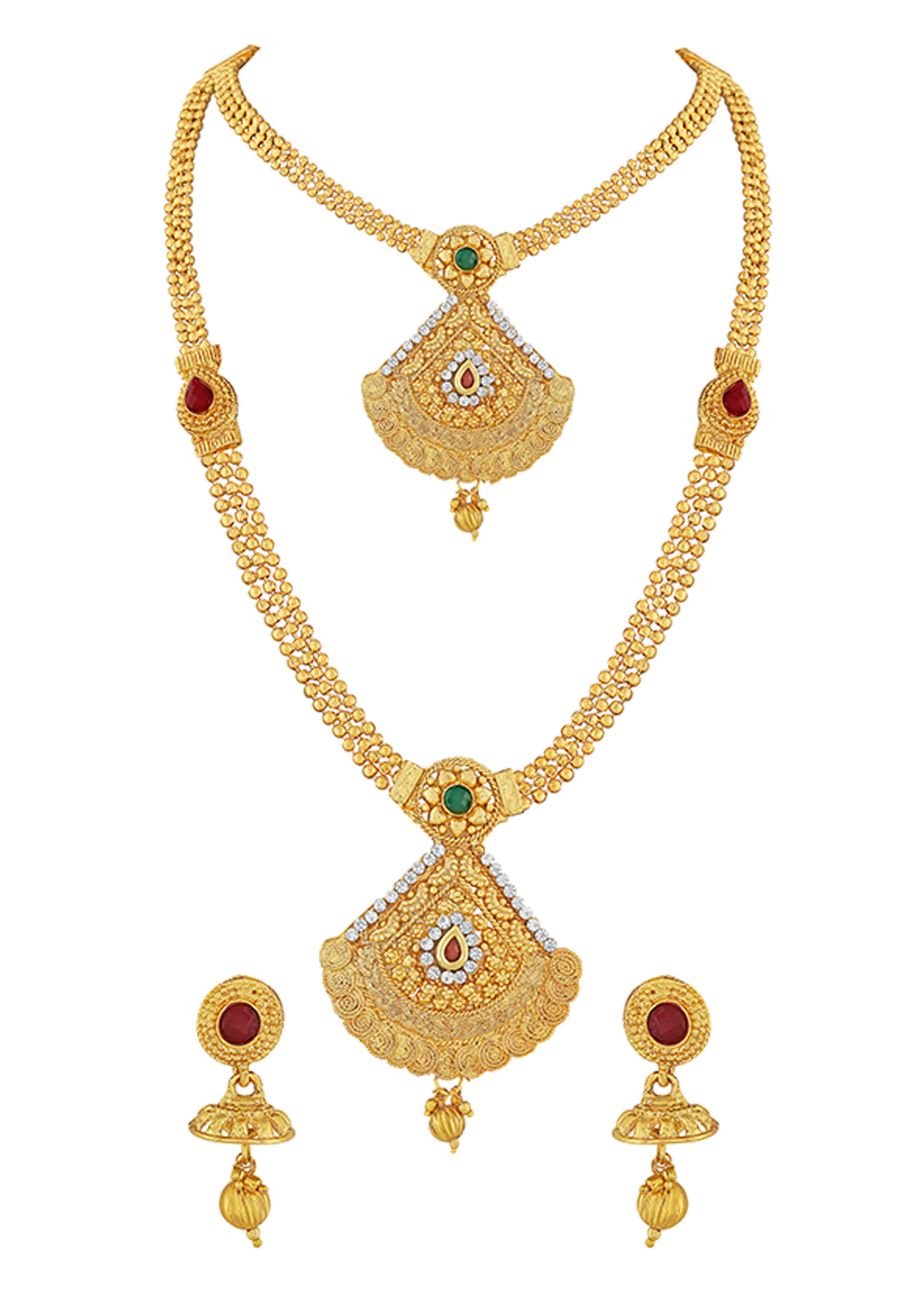 Golden Zinc Necklace Set With Earrings 191843