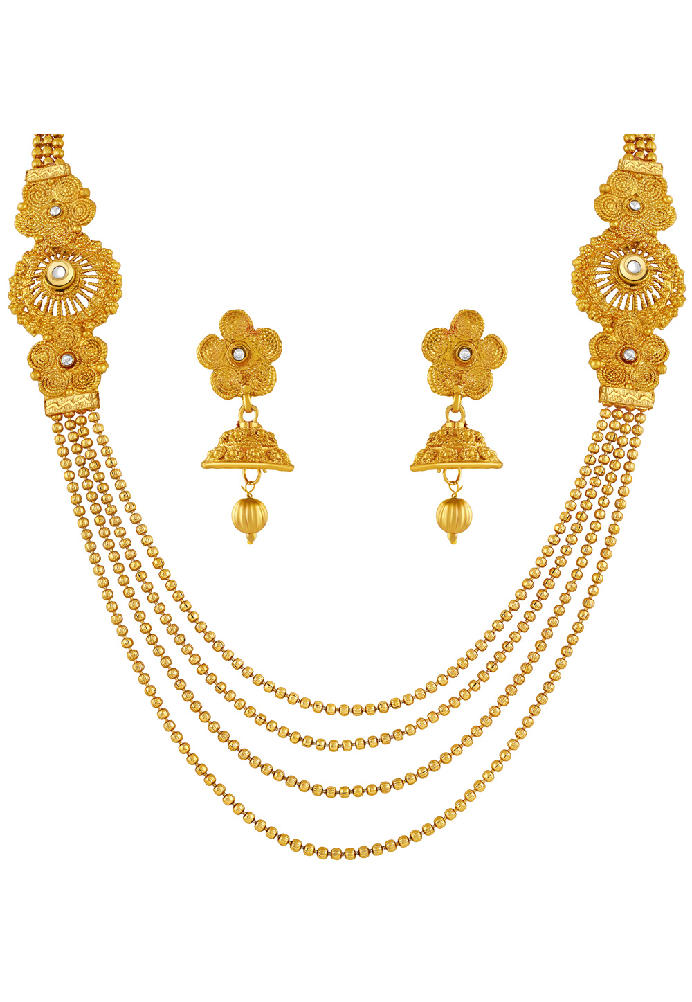 Golden Zinc Necklace Set With Earrings 191844