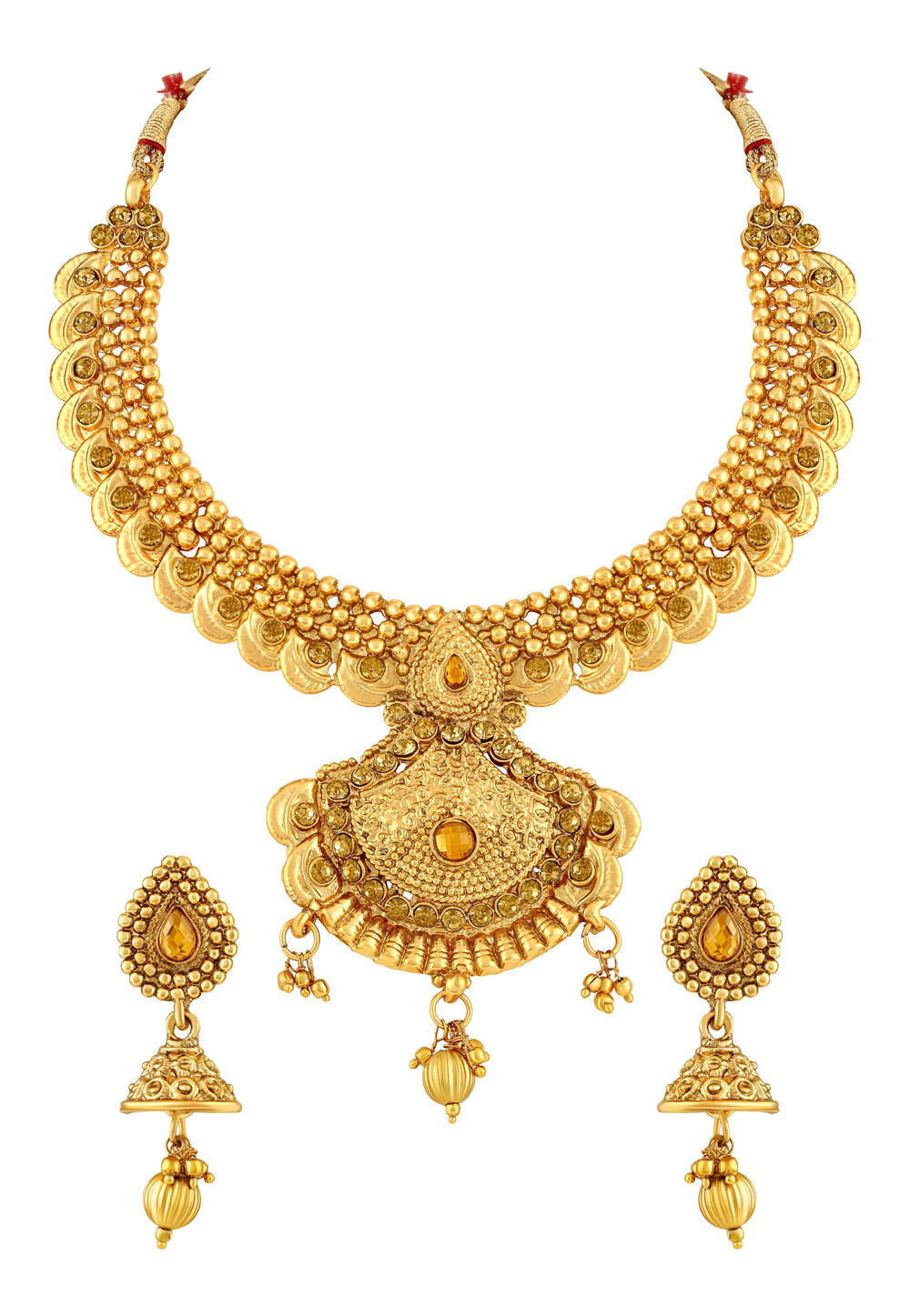 Golden Zinc Necklace Set With Earrings 191846