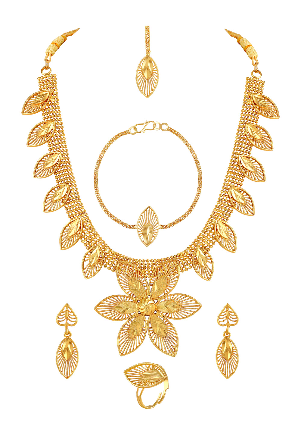 Golden Zinc Necklace Set With Earrings and Maang Tikka and Bracelet 191849