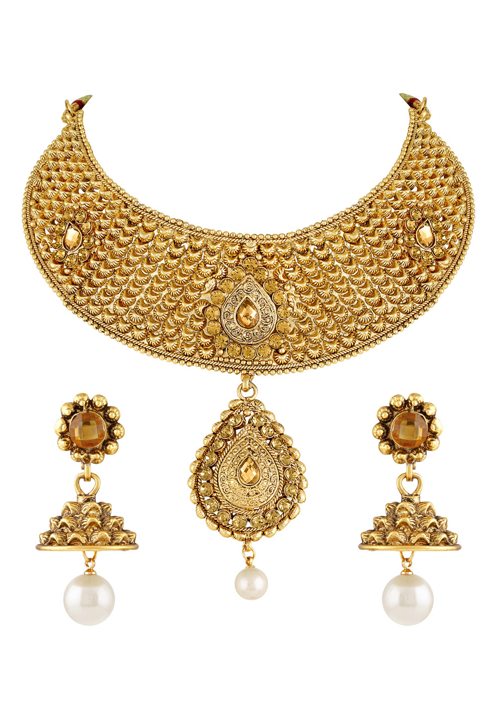 Golden Zinc Necklace Set With Earrings 191851
